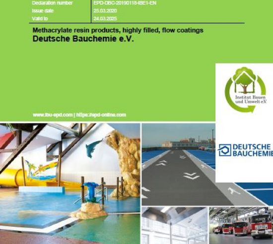 Environmental declaration Methacrylate resin products, highly filled, flow coatings