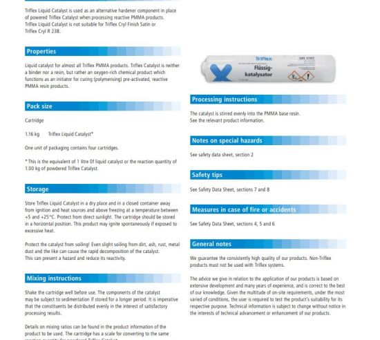 Triflex Liquid Catalyst product information EN